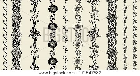 Hand-drawn vector seamless floral line border set and design element on beige