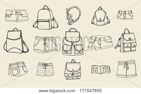 Hand drawn Vector Set of Sketch Doodle Backpacks and women jeans shorts. Casual Backpack, Fashion Backpack. Vector illustration. Back to school.