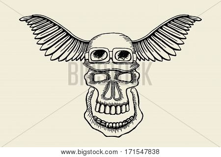 Vintage skull grunge biker motorcycle vector label. Skull in helmet with wings illustration