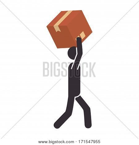 silhouette pictogram person dispatcher with box vector illustration