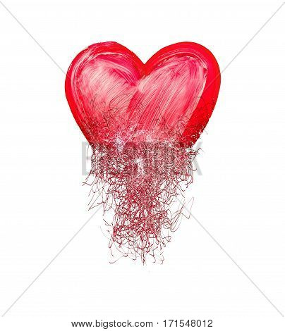 Image of the heart painted from tangle of scribbles