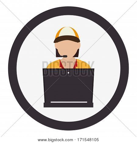 circular frame with colorful Self-service seller vector illustration