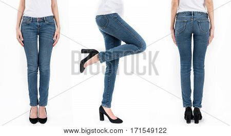 Collection of asian women's jeans and white T-shirt in different poses isolated on white background.