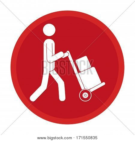 circle emblem pictogram of man and hand truck and packages vector illustration