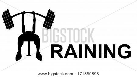 Training sign of weight lifting, black and white illustration