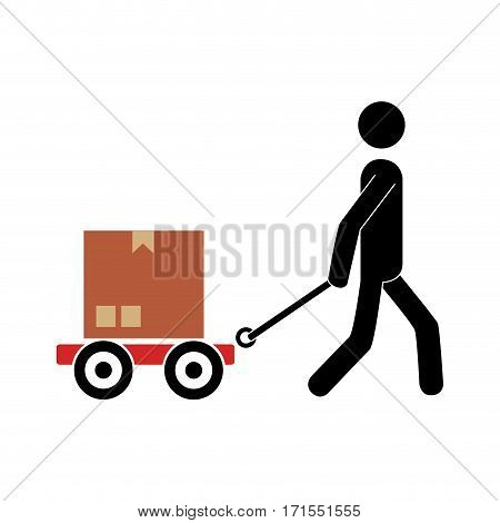 pictogram of man and hand truck and packages vector illustration