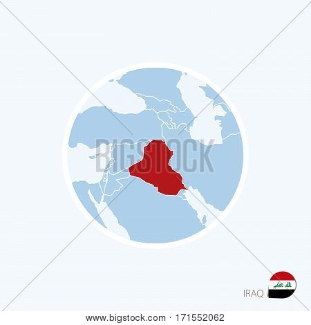 Map Icon Of Iraq. Blue Map Of Middle East With Highlighted Iraq In Red Color.