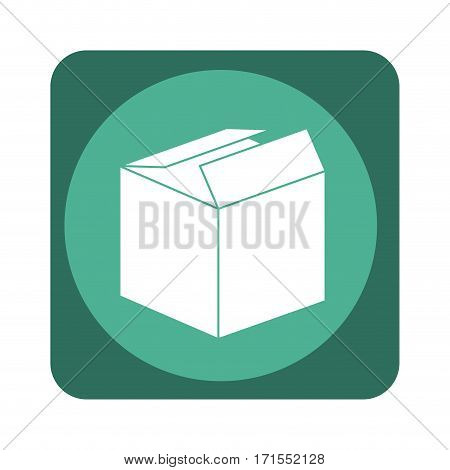 square emblem with open packing box vector illustration
