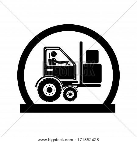 monochrome circular emblem with forklift truck with forks vector illustration