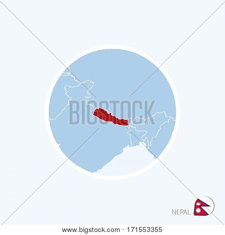 Map Icon Of Nepal. Blue Map Of South Asia With Highlighted Nepal In Red Color.