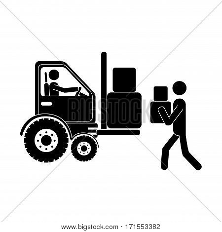 monochrome pictogram with forklift truck with forks and workers vector illustration