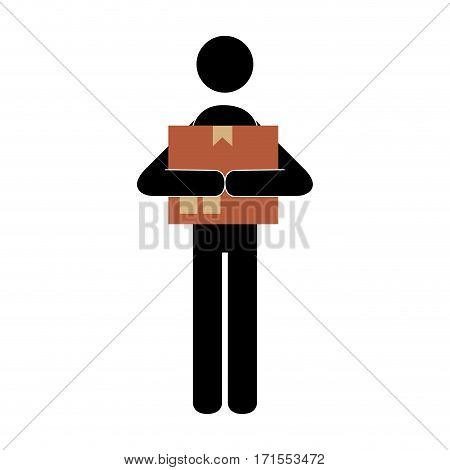 pictogram silhouette with messenger and sealed package vector illustration