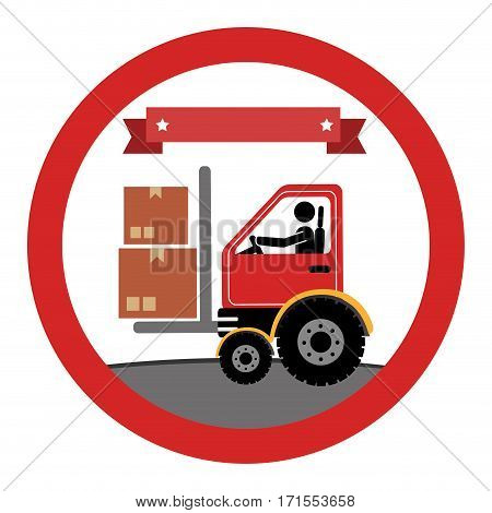 circular emblem with forklift truck with forksand ribbon on top vector illustration