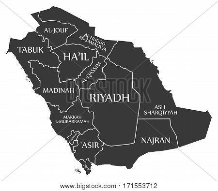 Saudi Arabia Map labelled black mainland illustration silhouette