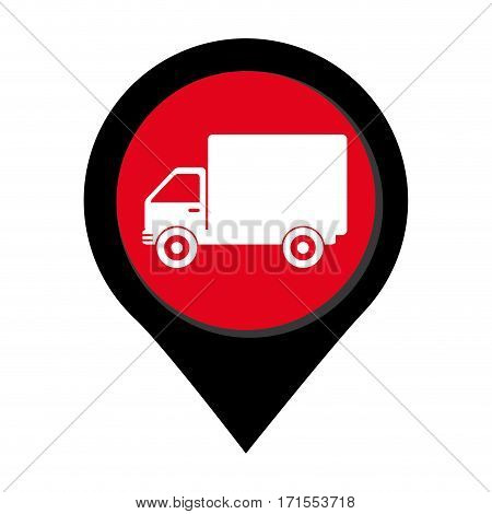 map pointer with truck with wagon vector illustration