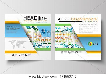 Business templates for square design brochure, magazine, flyer, booklet or annual report. Leaflet cover, abstract flat layout, easy editable blank. Abstract triangles, triangular background, modern colorful polygonal vector.