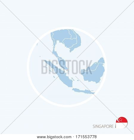Map Icon Of Singapore. Blue Map Of Asia With Highlighted Singapore In Red Color.