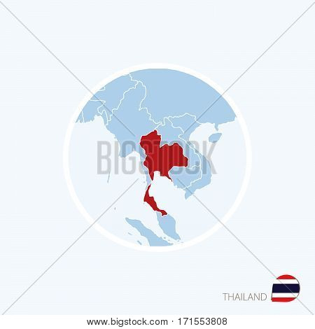 Map Icon Of Thailand. Blue Map Of Asia With Highlighted Thailand In Red Color.