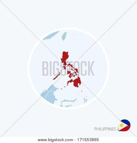 Map Icon Of Philippines. Blue Map Of Asia With Highlighted Philippines In Red Color.