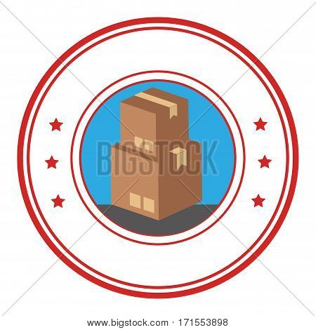 circular emblem with stacking package box vector illustration