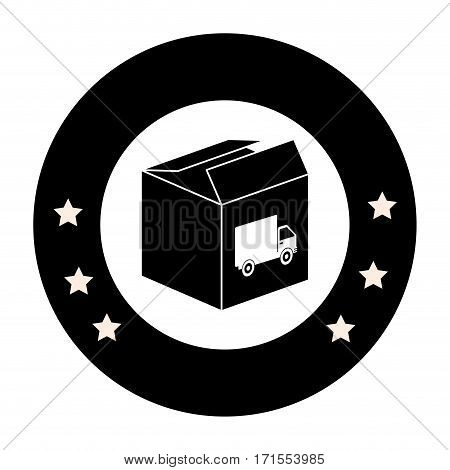 monochrome circular emblem with open packing box with truck stamp vector illustration