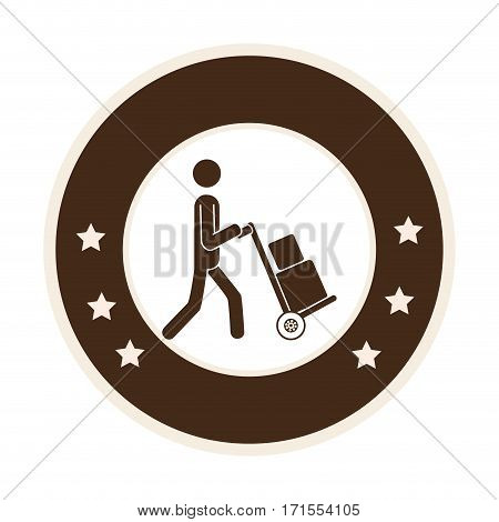 monochrome circle frame with messenger with hand truck and packages vector illustration