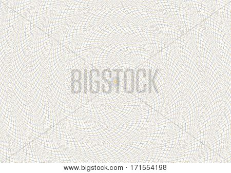 Guilloche vector spiral background grid with rosette in center.