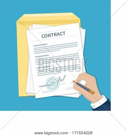 Businessman signing a contract. Man hand with pen, document and envelope. The process of business financial agreement. Document with a signature and a stamp. Vector illustration top view