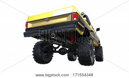 large pickup truck off-road. Full - training. Highly raised suspension. Huge wheels with spikes for rocks and mud. 3d illustration