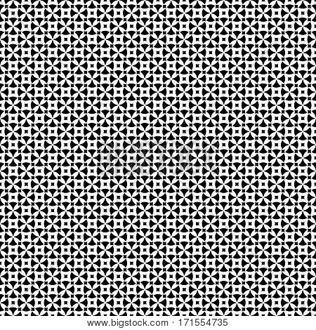 Vector seamless pattern, abstract ornamental background. Simple black & white geometric figures, rounded crosses, squares. Repeat monochrome texture. Design for prints, decoration, textile, digital, web