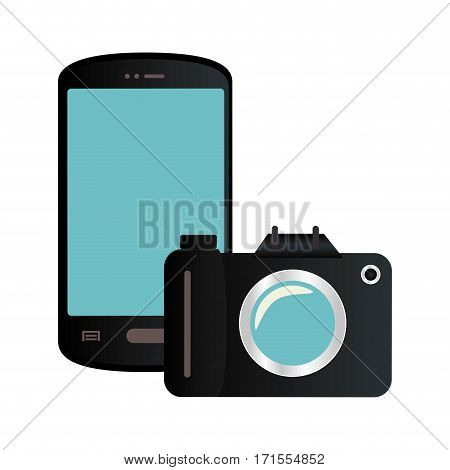 color silhouette with smartphone and analog camera vector illustration