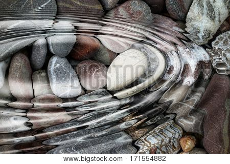 Abstract image of the water ripples over the stone pebbles - digitally altere