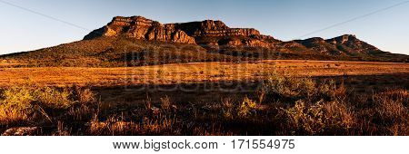 A panoramic mountain scene in the Flinders Ranges National Park, South Australia, Australia.