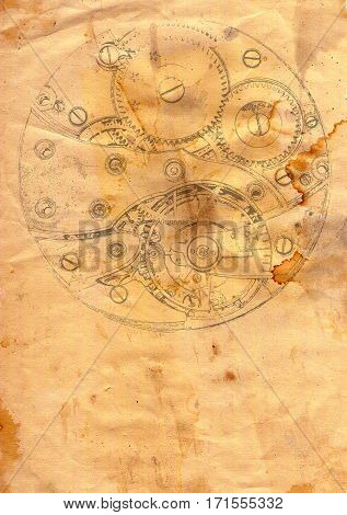 Image of the clockwork mechanism on grunge paper