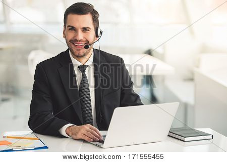 Handsome Businessman Working