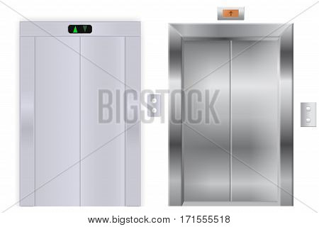 Elevator with closed metal doors. Vector illustration isolated on white background