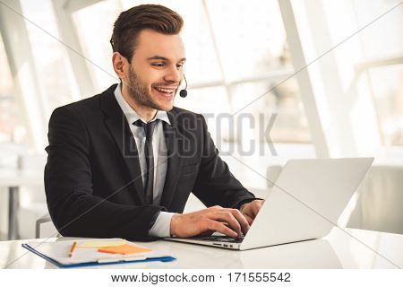 Attractive Businessman Working