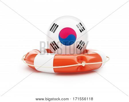 Lifebelt with South Korea flag help on a white background 3D illustration