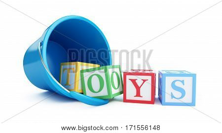 Toy bucket blue toy blocks on a white background 3D illustration