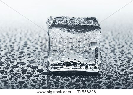 Transparent ice cube with reflection on white background. Closeup of cold crystal block on glass with water drops, black and white, monochrome image