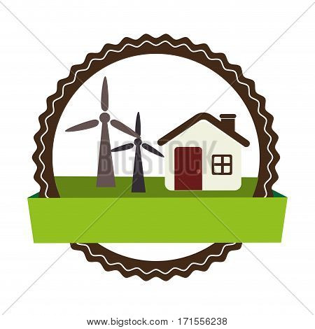 circular landscape with cottage and eolic turbines vector illustration vector illustration