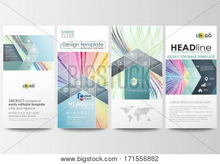 Flyers set, modern banners. Business templates. Cover template, easy editable flat style layouts, vector illustration. Colorful background with abstract waves, lines. Bright color curves. Motion design