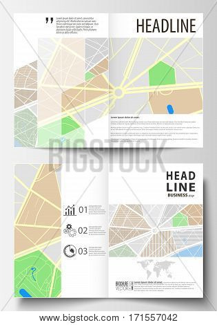 Business templates for bi fold brochure, magazine, flyer, booklet or annual report. Cover design template, easy editable blank, abstract flat layout in A4 size. City map with streets. Flat design template for tourism businesses, abstract vector illustrati