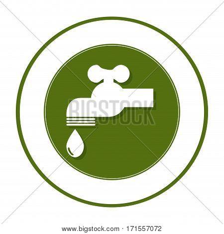 circular frame with symbol saving water faucet drop vector illustration