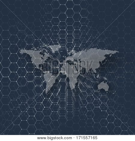 White dotted world map, connecting lines and dots on blue background. Chemistry pattern, hexagonal molecule structure, medical research. Medicine, technology concept. Abstract design vector decoration