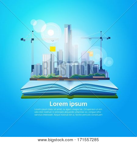 Open Book Big City Geography Read School Education Knowledge Concept Flat Vector Illustration