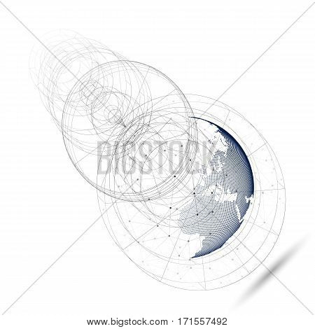3D dotted world globe with abstract construction, connecting lines and dots, molecules on white background. Molecule structure, scientific research. Medicine, science, technology concept. Abstract polygonal design vector illustration.