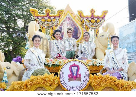 CHIANG MAI THAILAND-FEBRUARY 04: Miss Chiangmai 2017 at flowers decorate car in annual 41th Chiang Mai Flower Festival