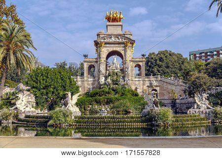 Cascades located at Ciutadella Park at Barcelona Spain