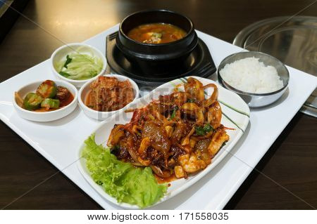 Nakji Deopbap Is Stir-fried Octopus (nakji) With Rice(bap) - Korea Food